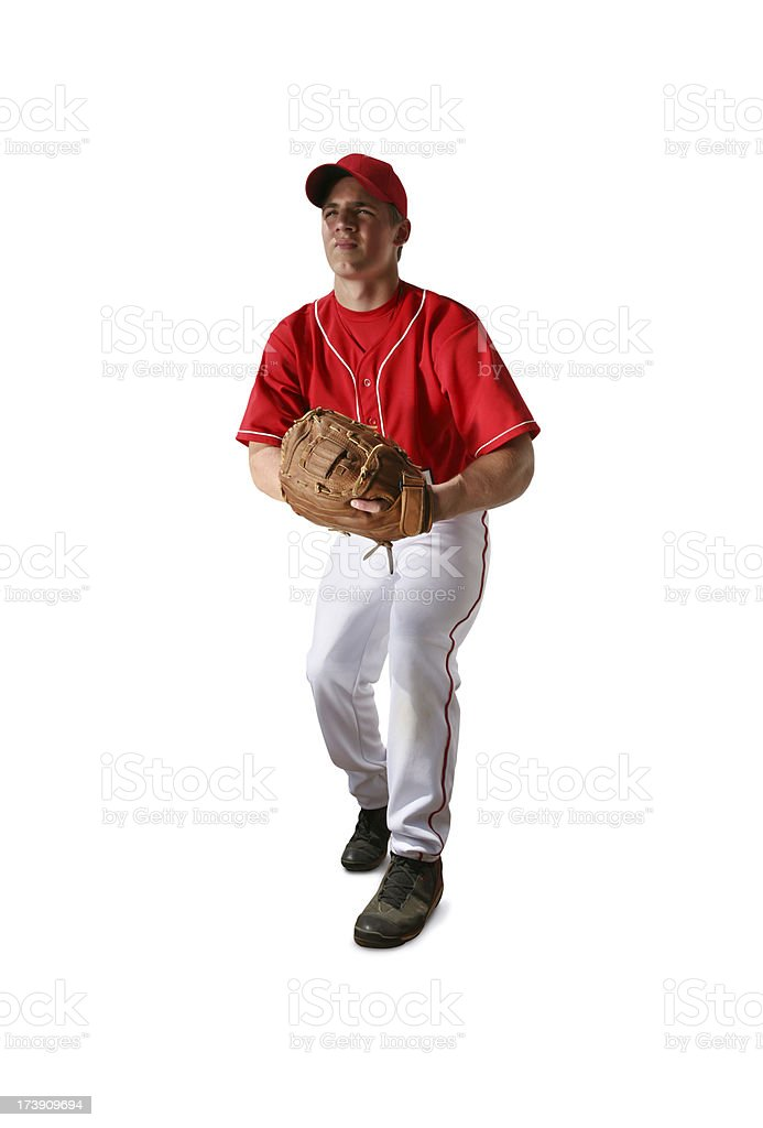 Baseball Player with Clipping Path stock photo