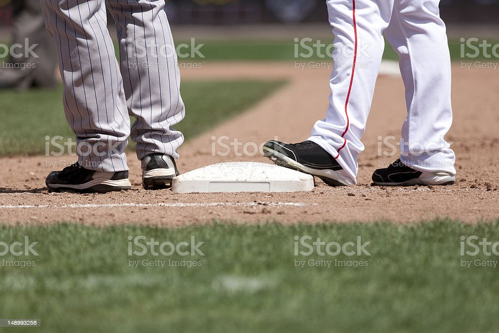 Baseball Players and Base stock photo
