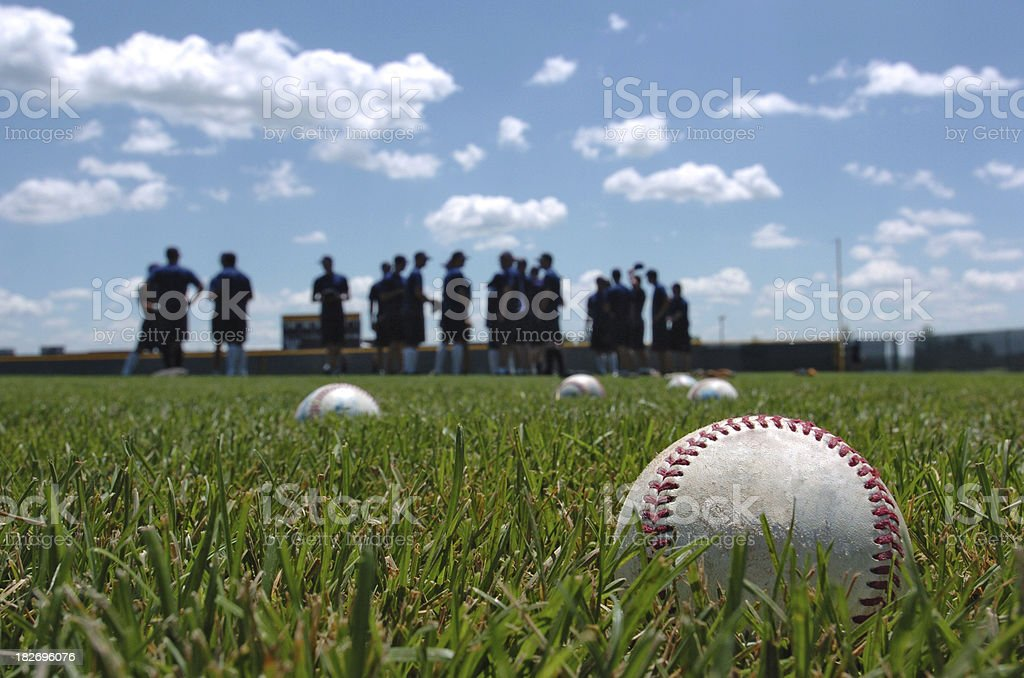 Baseball Players in the Field stock photo