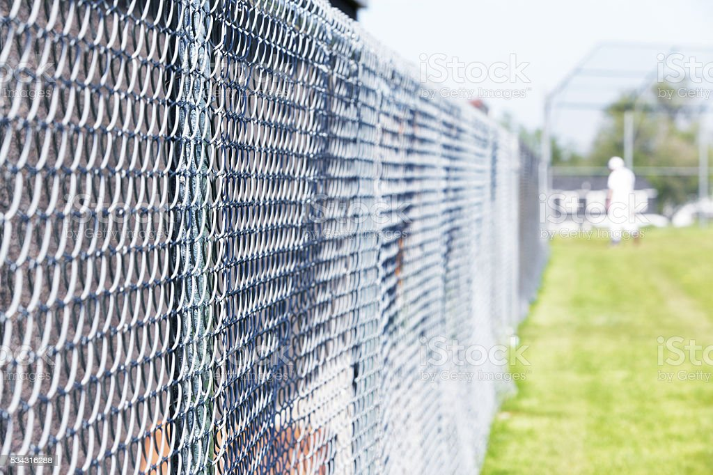 Baseball Playing Field Chainlink Fence Boundary stock photo