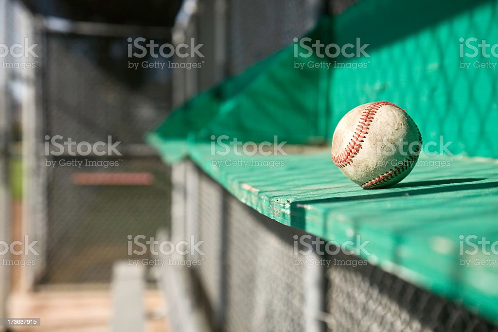 A baseball sat on the bench off season concept stock photo