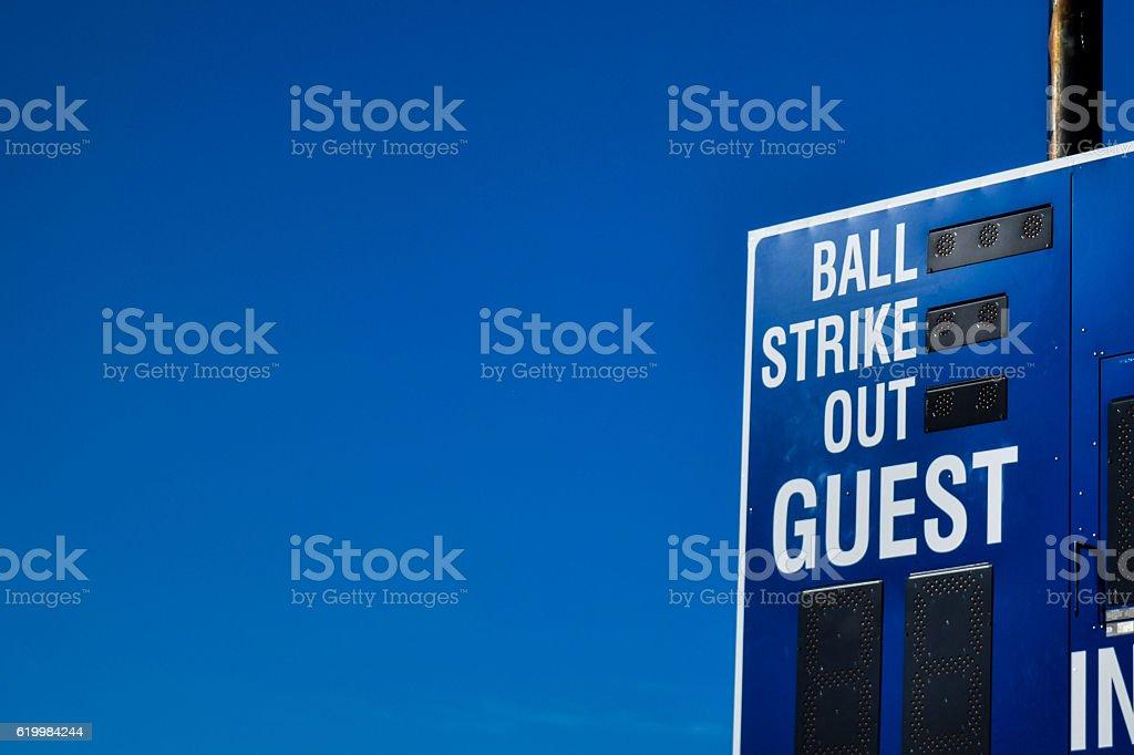 Baseball Score Board stock photo