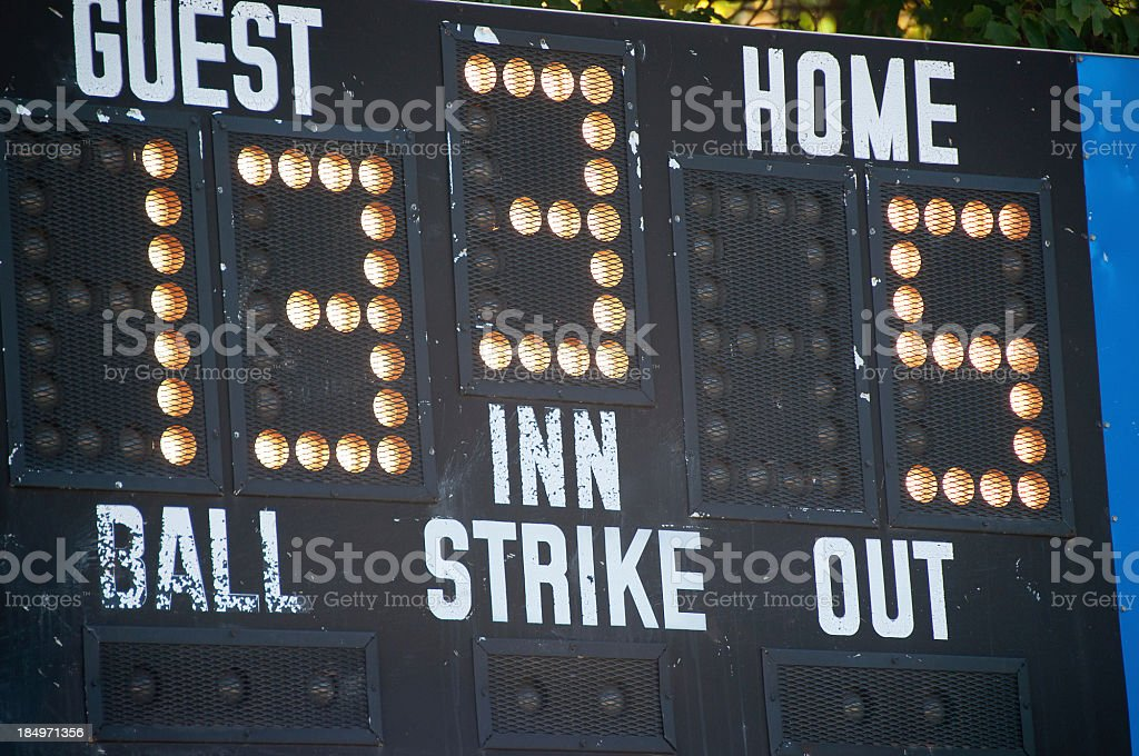 Baseball Score Borad stock photo