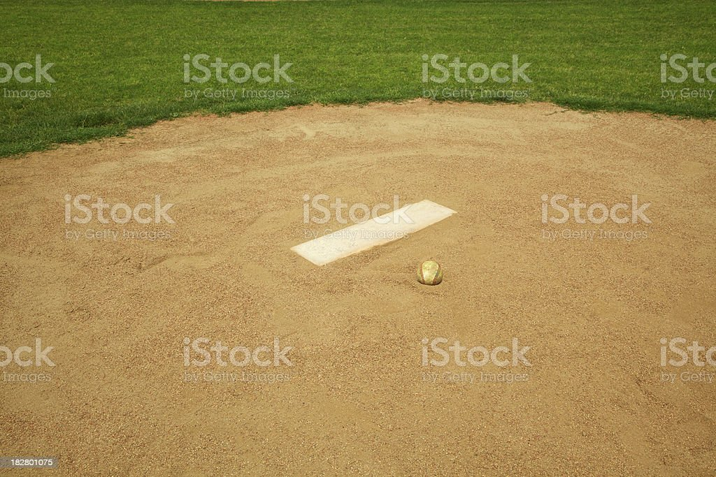 Baseball Sitting on Mound stock photo