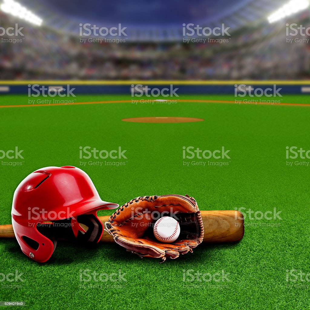 Baseball Stadium With Equipment and Copy Space stock photo