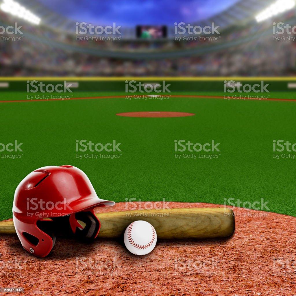Baseball stadium full of fans in the stands with baseball helmet, bat...