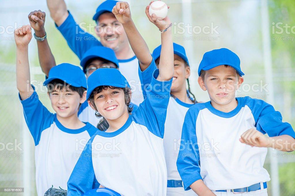 Baseball Team Standing Together stock photo