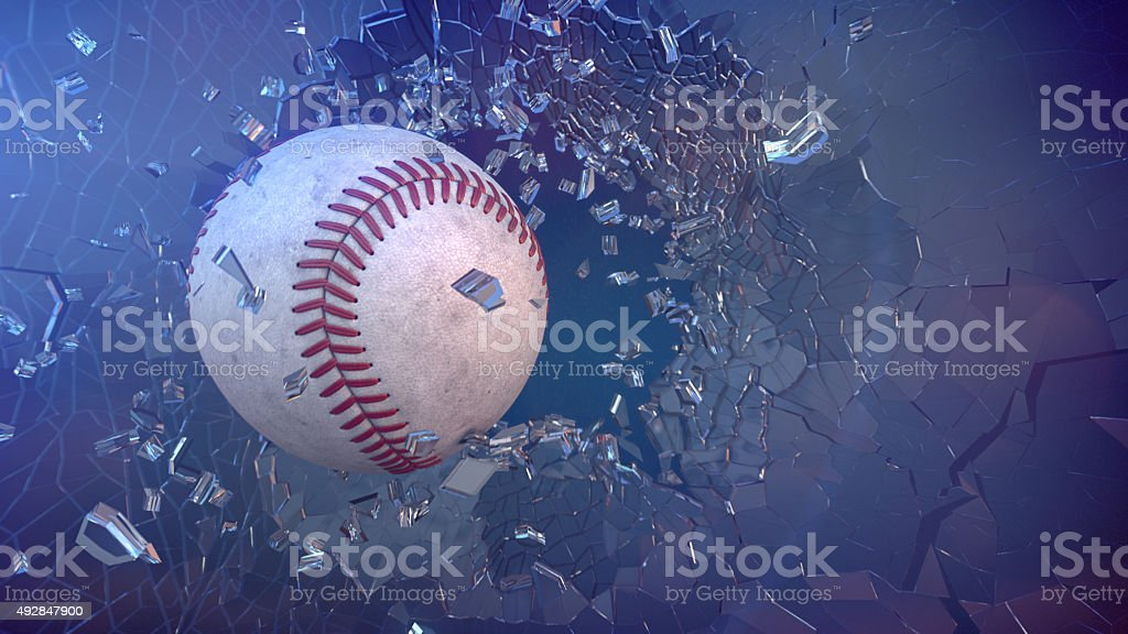 Baseball through broken glass. stock photo