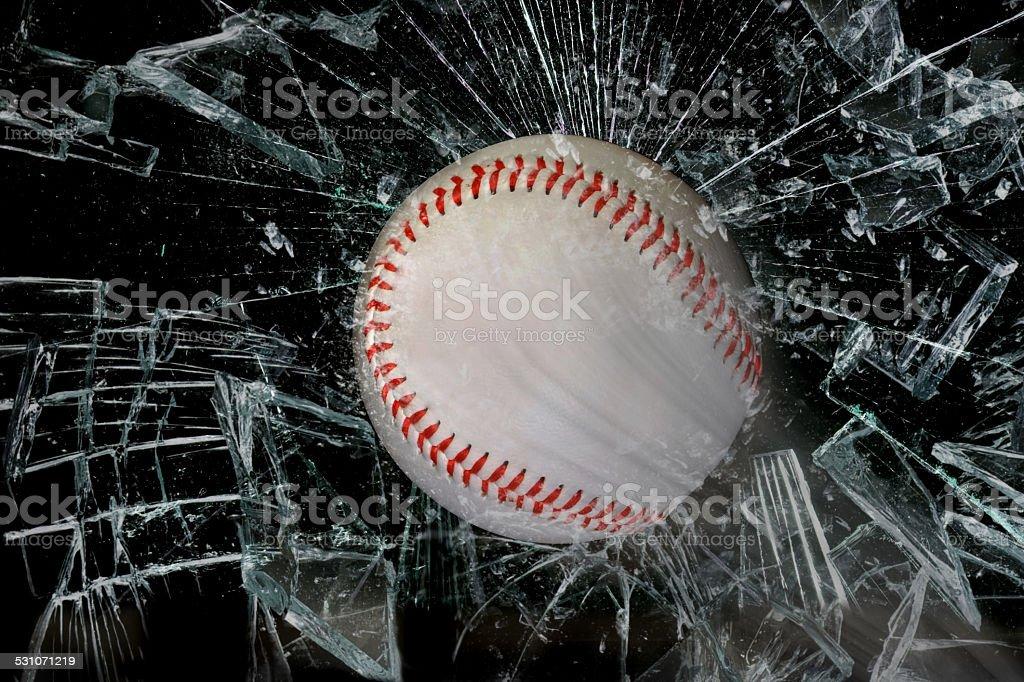 Baseball through glass. stock photo