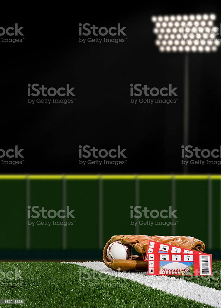 Baseball Tickets - Night Game royalty-free stock photo