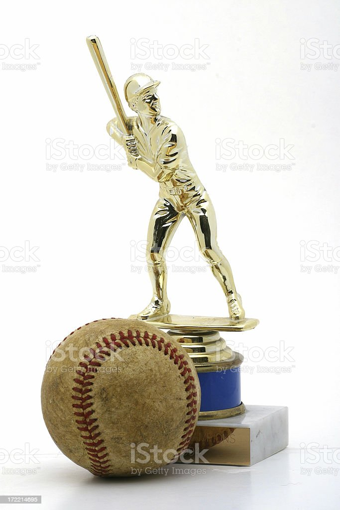 Baseball Trophy and ball stock photo