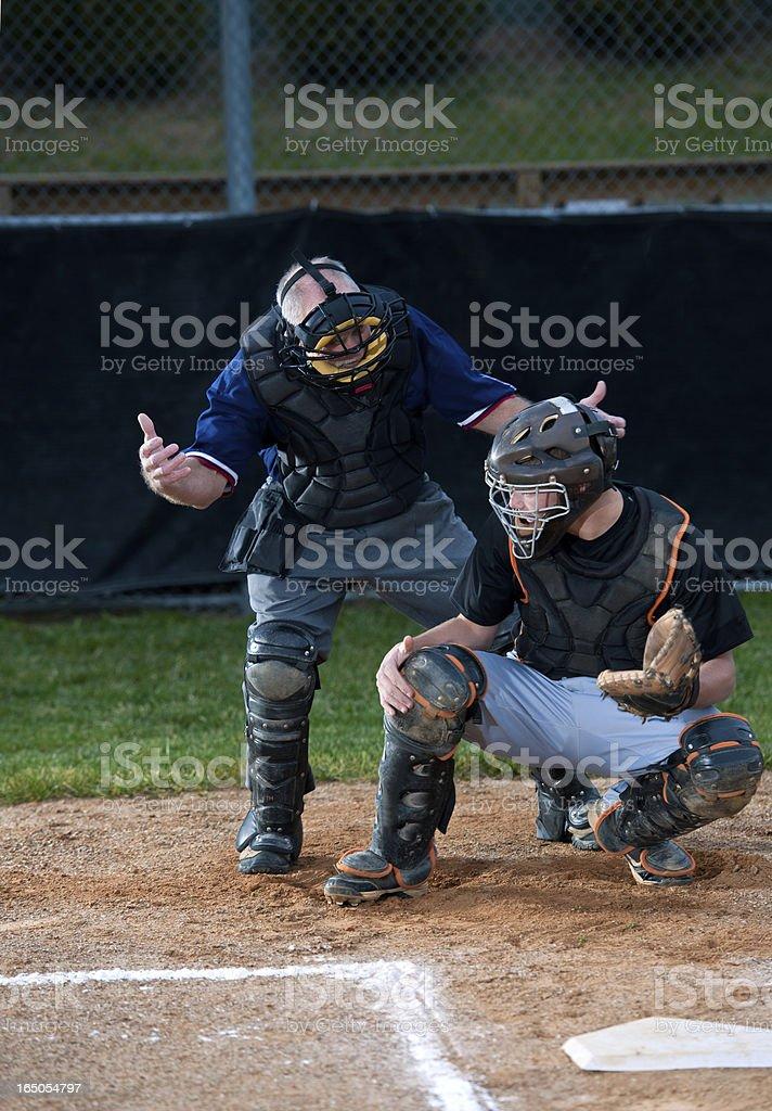 Baseball Umpire And Catcher stock photo