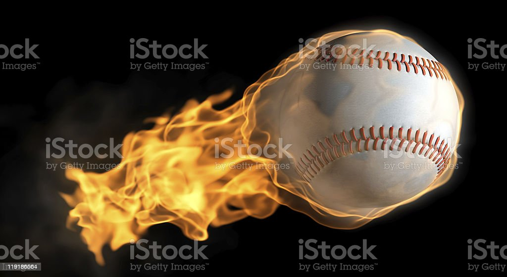 A baseball with a tail of flames stock photo