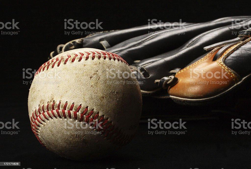 Baseball With Black Glove royalty-free stock photo
