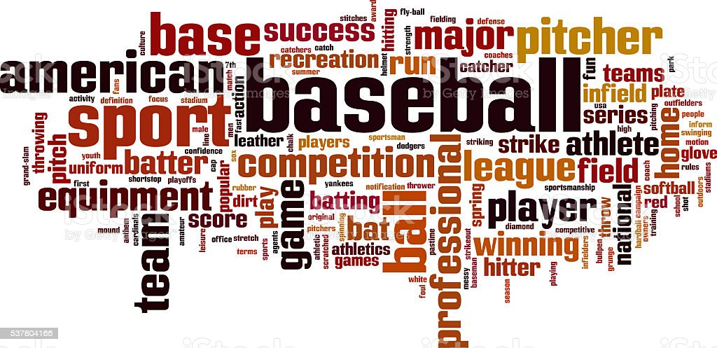 Baseball word cloud stock photo