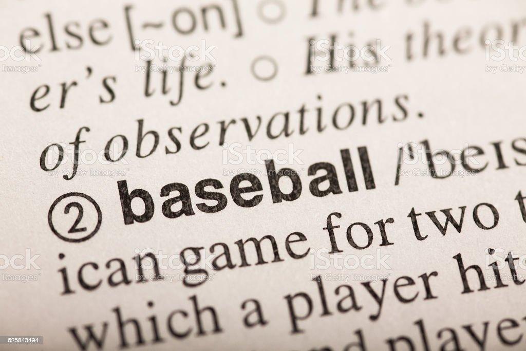 baseball - word in dictionary stock photo