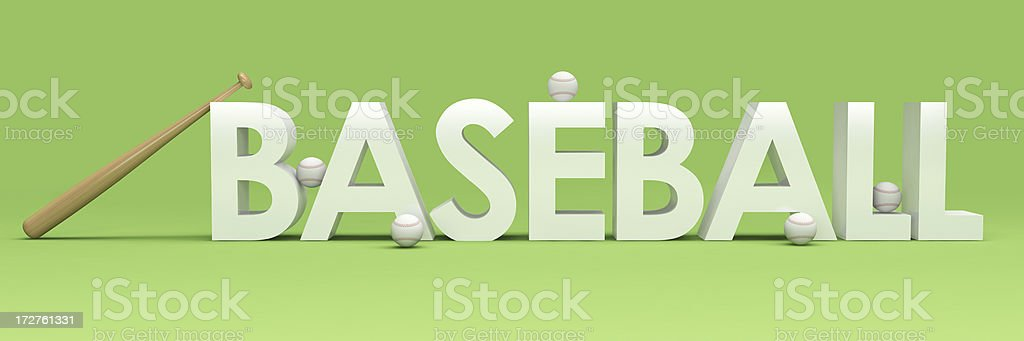 3D Baseball Word with bat stock photo