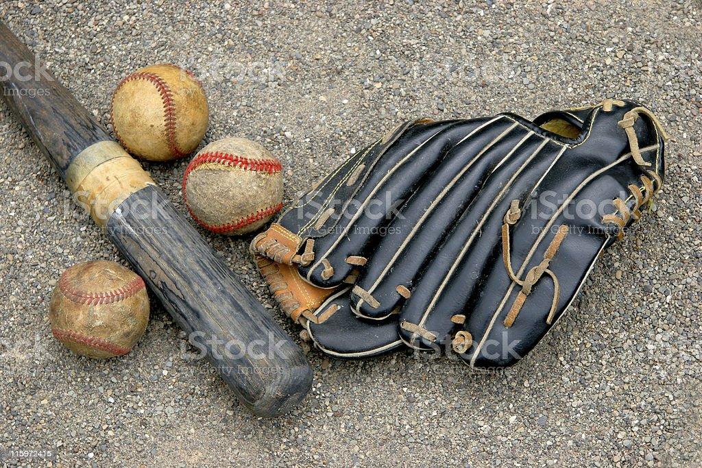 Baseballs, bat and glove stock photo