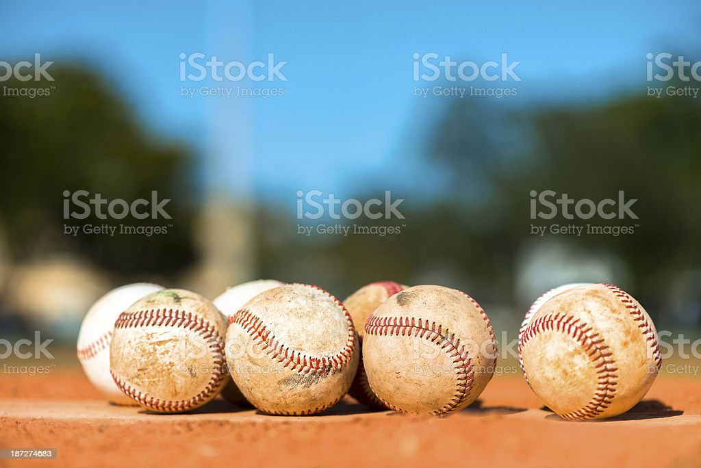 Baseballs on Pitching Mound Baseball Diamond stock photo