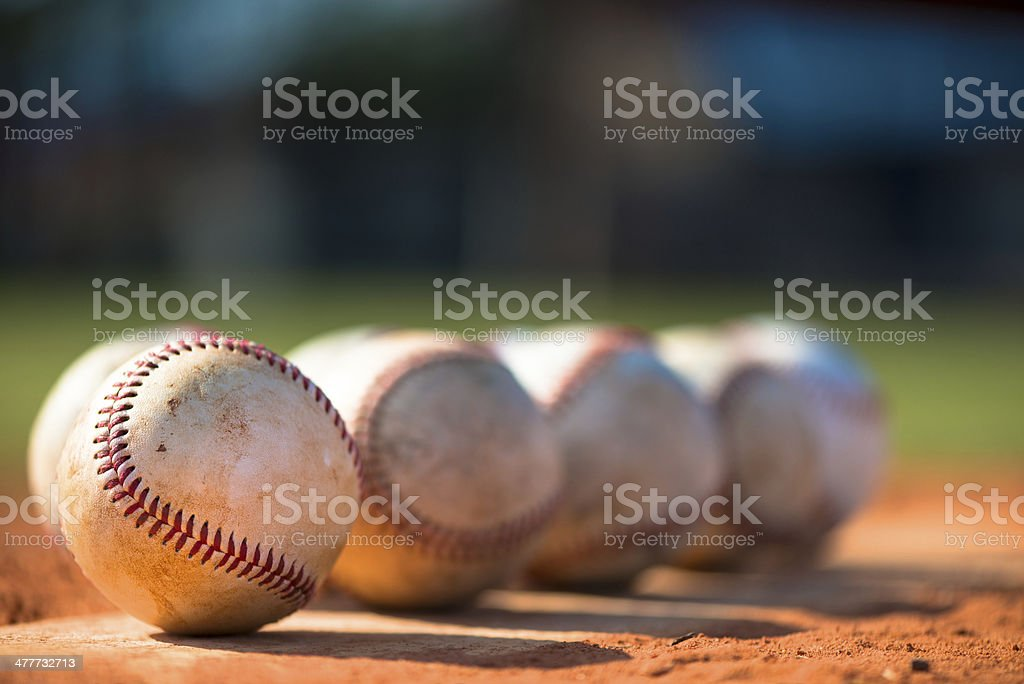 Baseballs on Pitching Mound Baseball Diamond stock photo