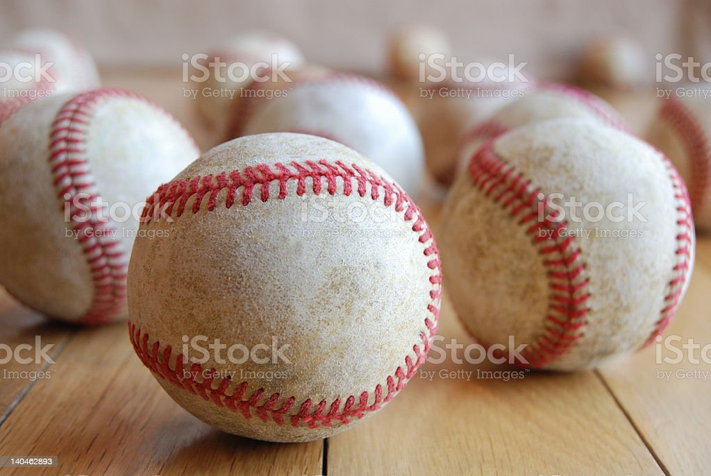 Baseballs on the floor royalty-free stock photo
