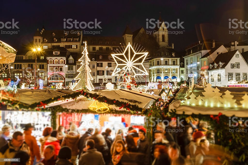 Basel at Christmas, Switzerland stock photo