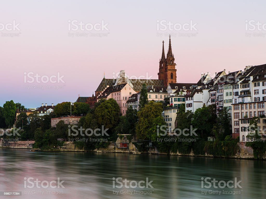 Basel cathedral at sunset stock photo