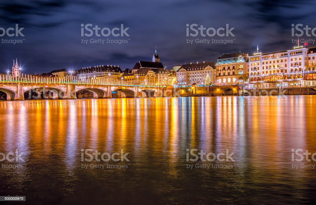 Basel in christmas lights stock photo