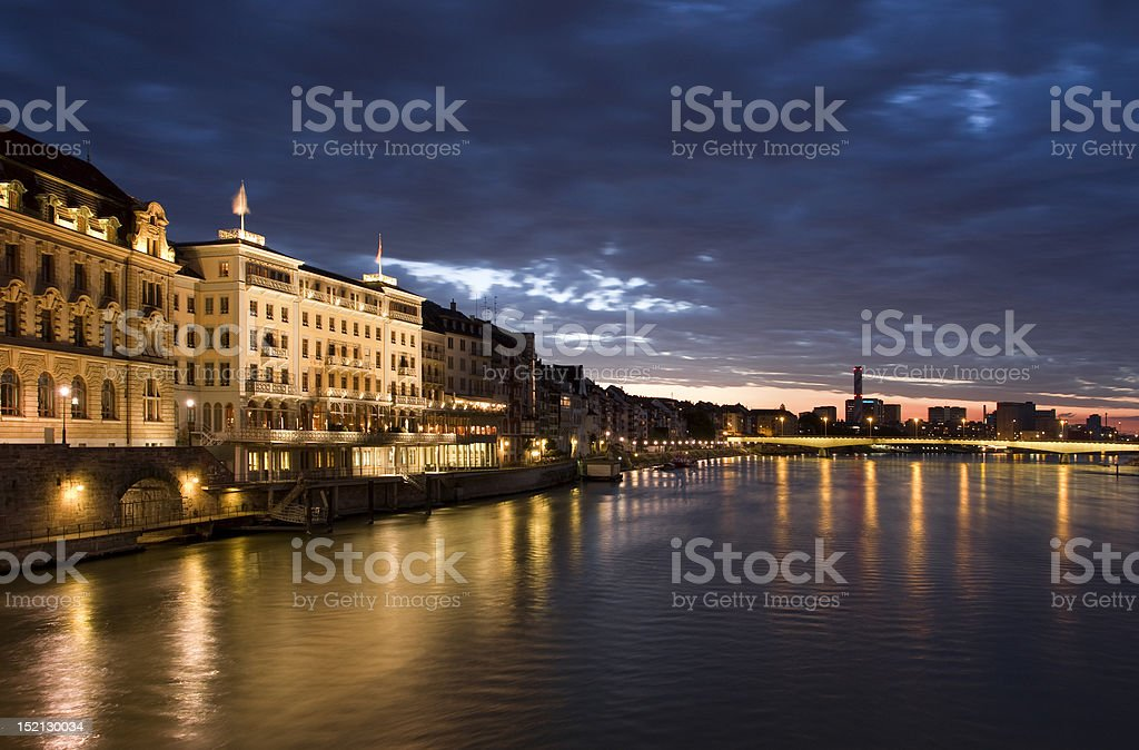 Basel in dusk time stock photo