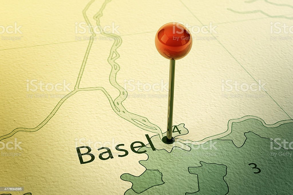Basel Map City Straight Pin Vintage stock photo