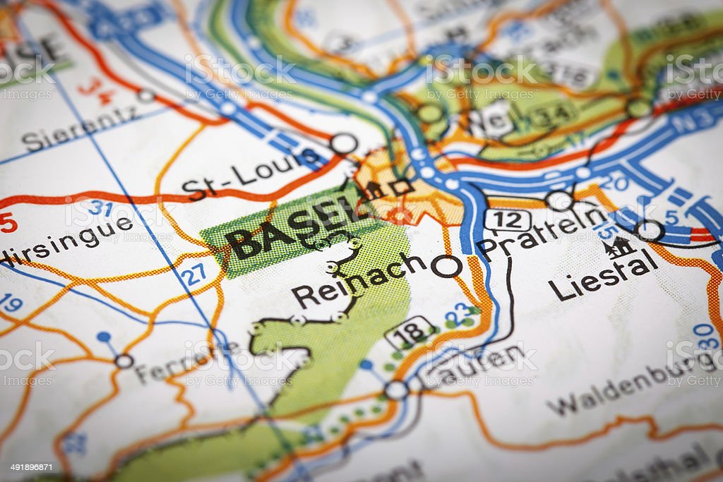 Basel on a road map stock photo