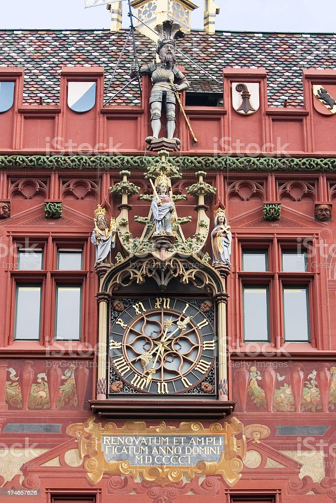Basel Town Hall Clock royalty-free stock photo