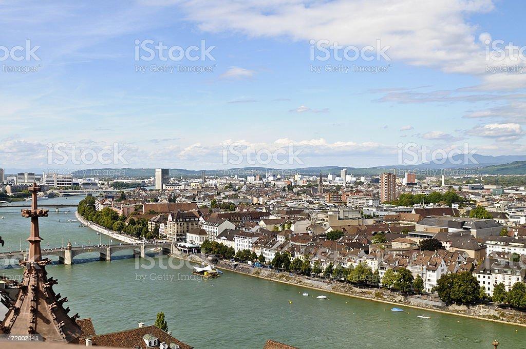 Basel with Rhein stock photo