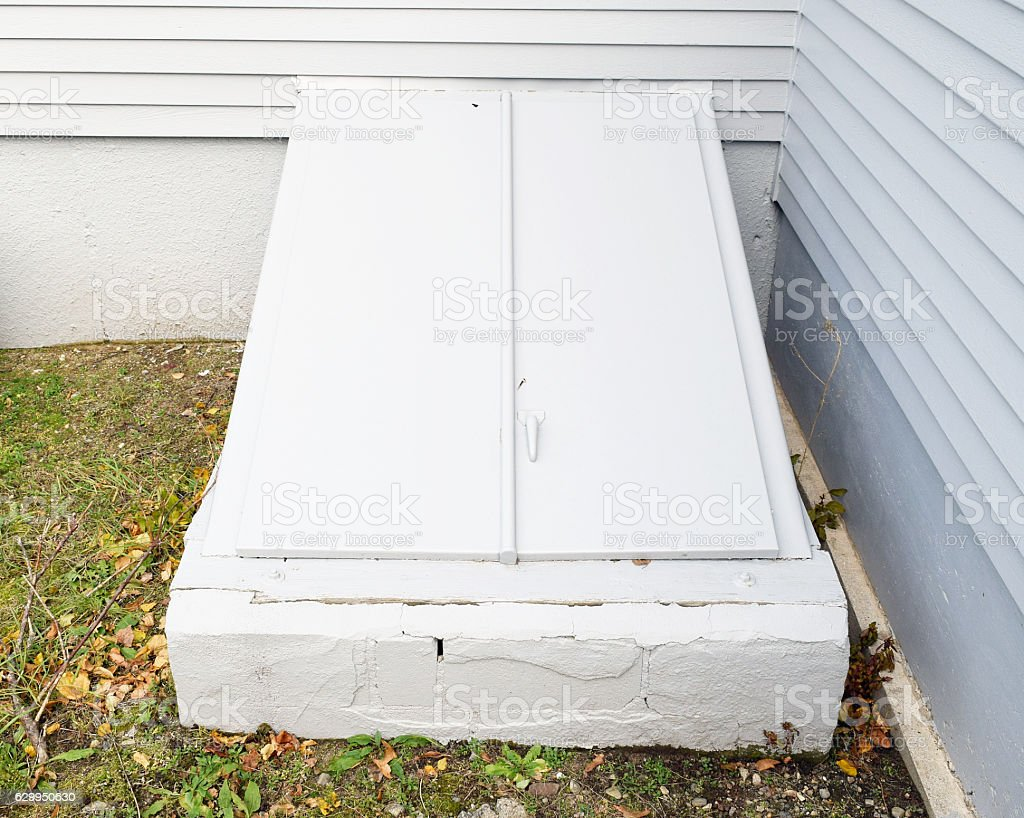 Basement bulkhead stock photo