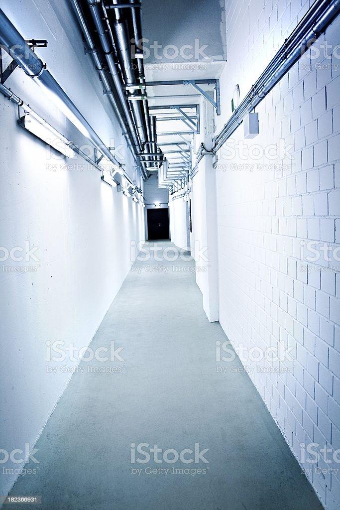 Basement corridor in hospital royalty-free stock photo