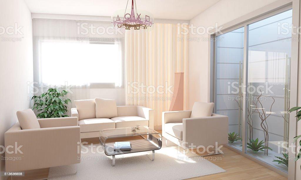 Basement Living Room Interior Design With Minimalist Landscape Design stock photo