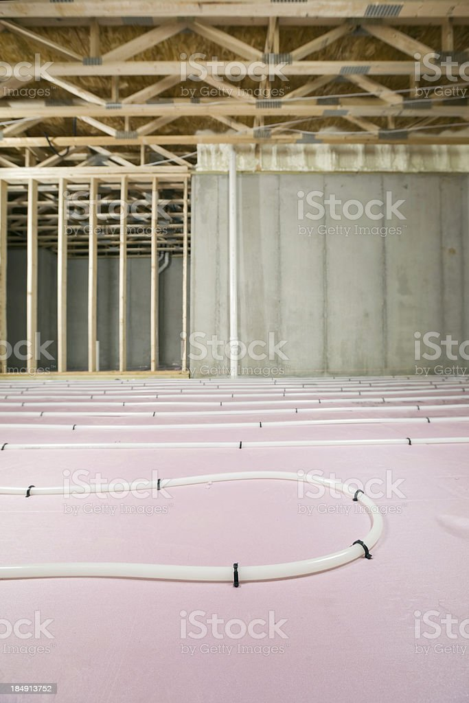 Basement Radiant Floor Heat System, Foundation and Trusses stock photo