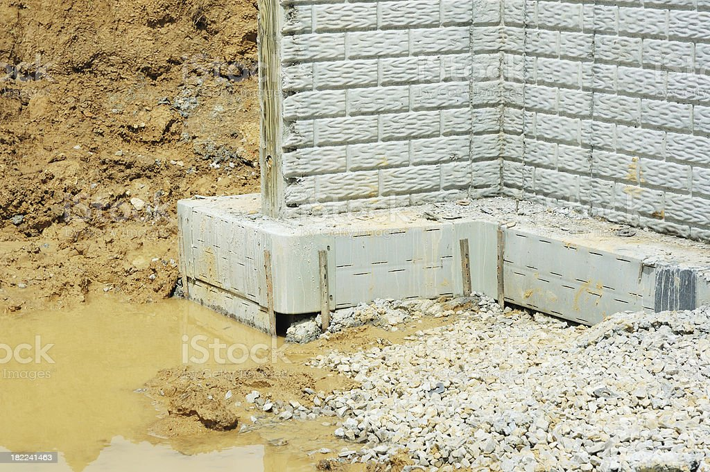 Basement Wall Foundation Footing on House Construction Site stock photo