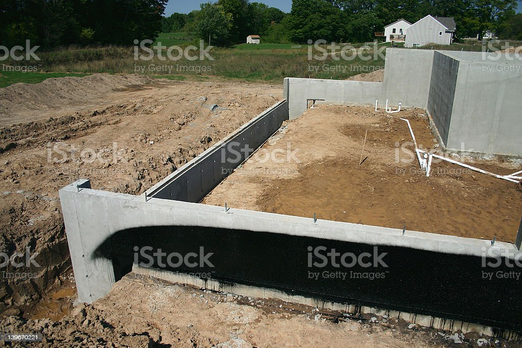 Basement Walls and Foundation to a New Home stock photo
