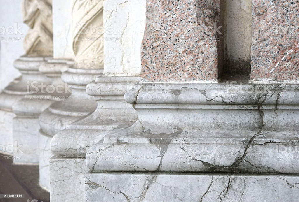 bases of  stone columns in perspective stock photo