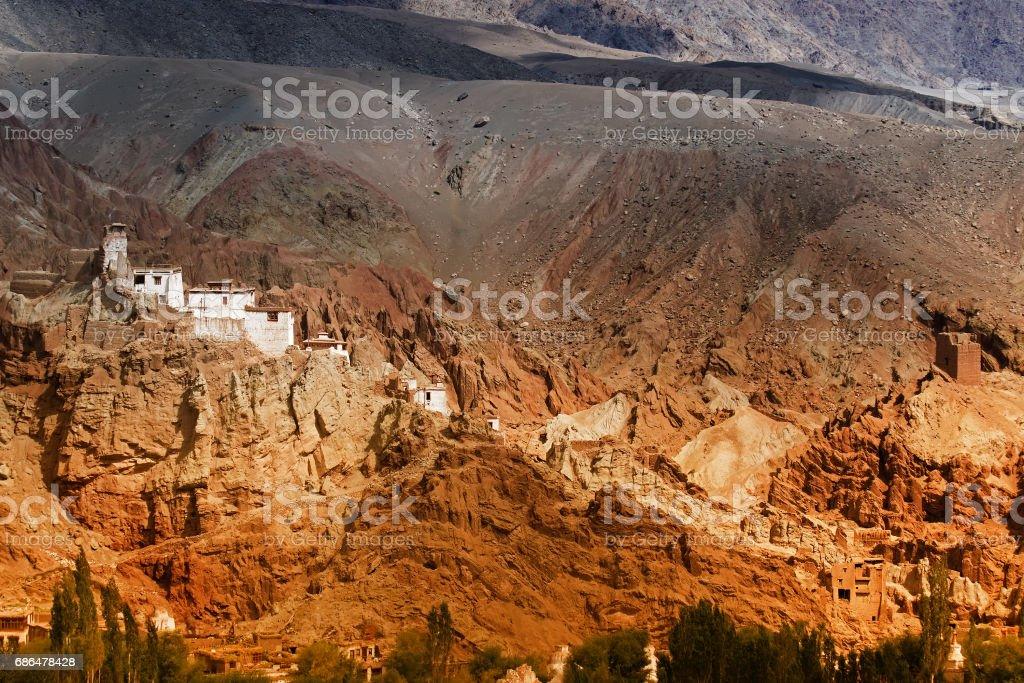 Basgo Monastery surrounded by rocks, Ladakh, Jammu and Kashmir, India stock photo