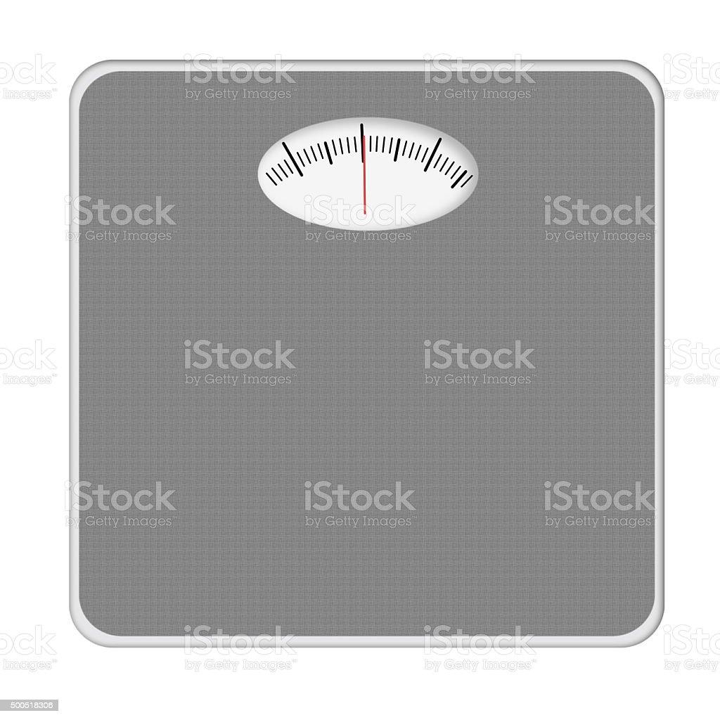 Basic bathroom scale, scales. Grey. Isolated on white. Photo realistic. stock photo