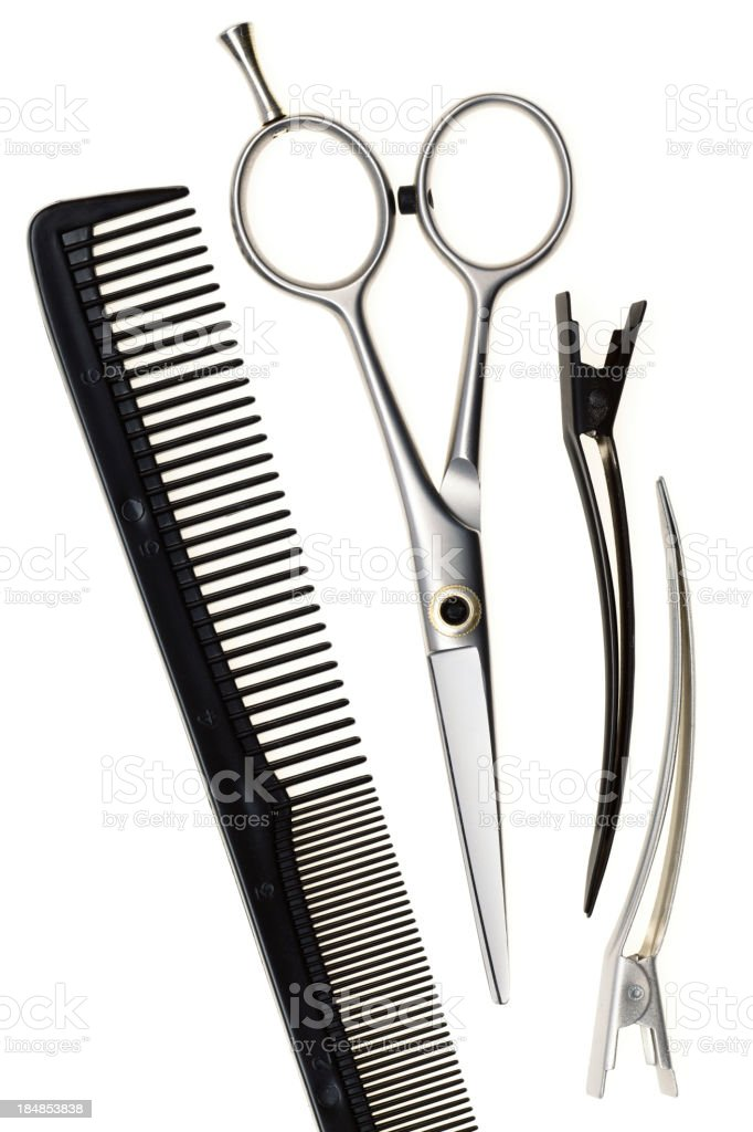 Basic black and silver hair cutting tools stock photo