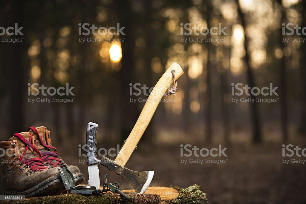 basic camping equipment stock photo