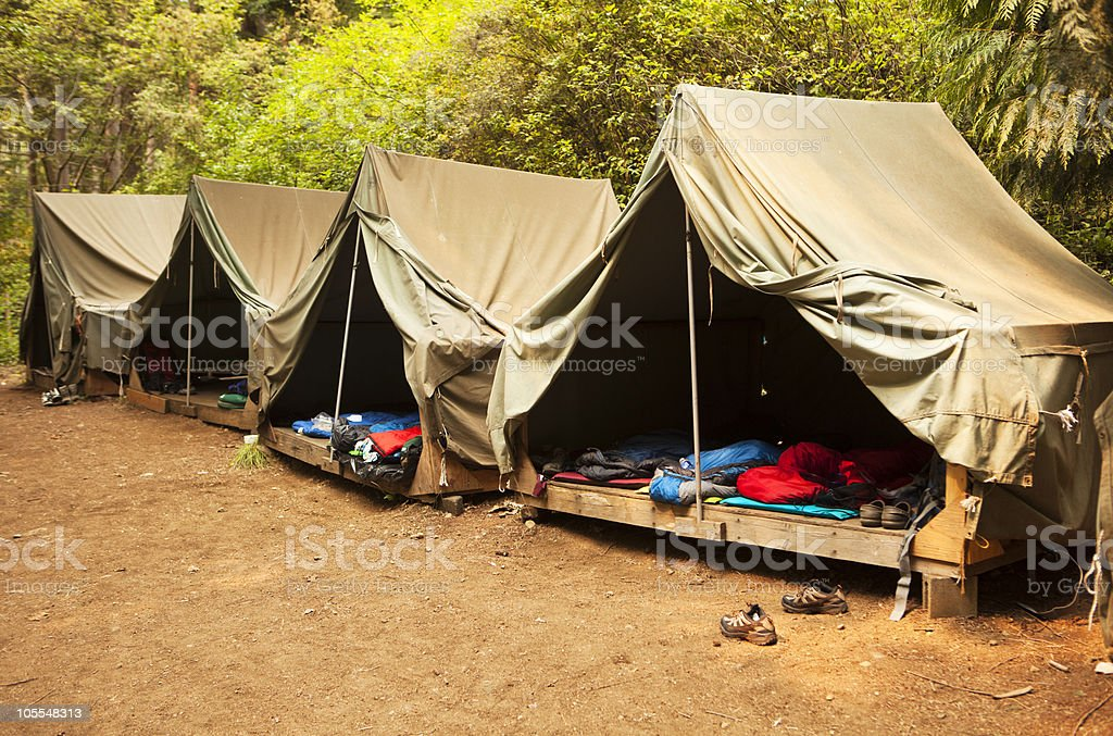 Roughing It At Summer Camp stock photo
