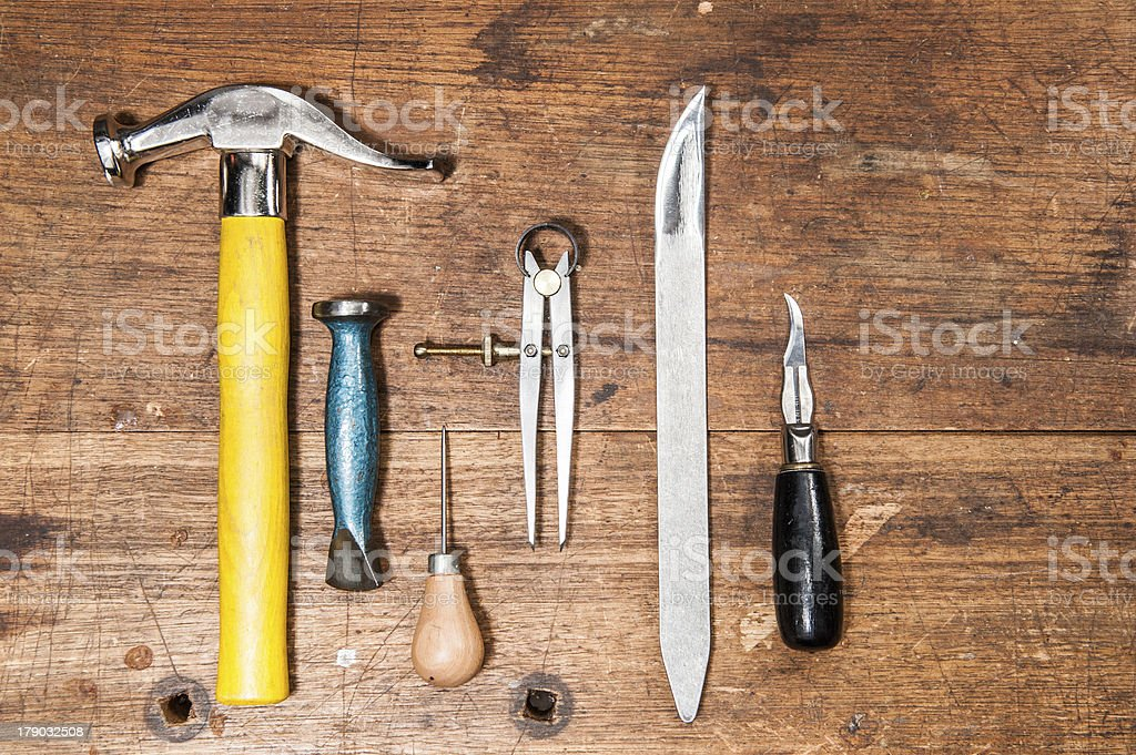 Basic Cobbler Tools royalty-free stock photo
