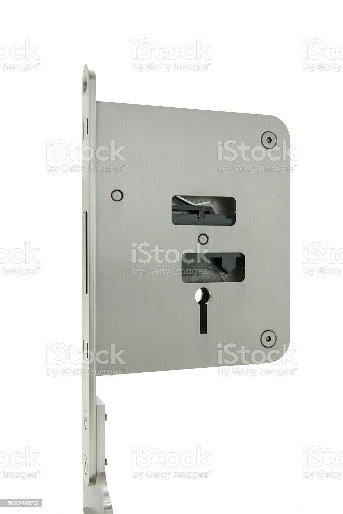 Basic door lock with key royalty-free stock photo