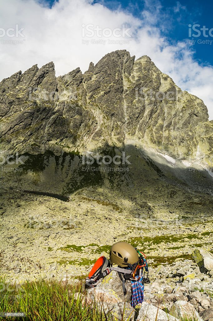 Basic equipment mountaineer in the valley stock photo