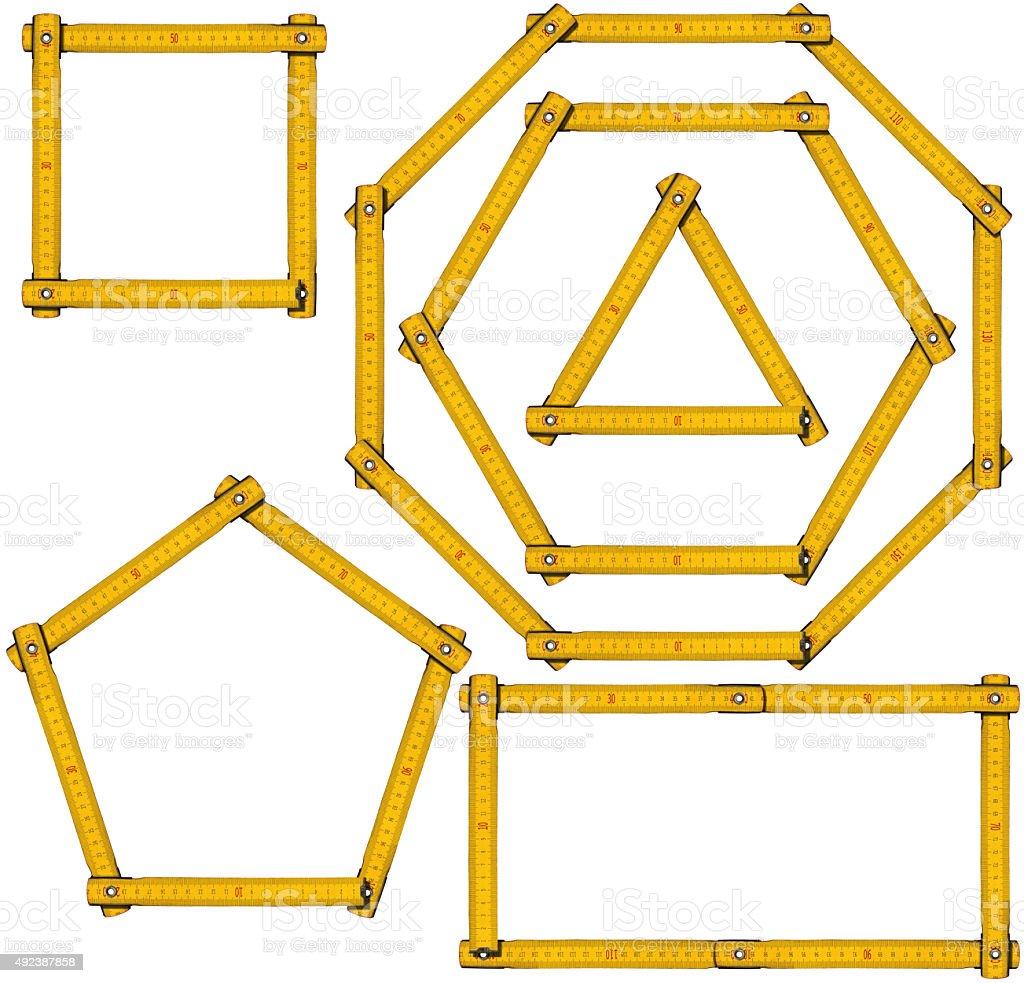 Basic Geometric Shapes - Wooden Ruler stock photo