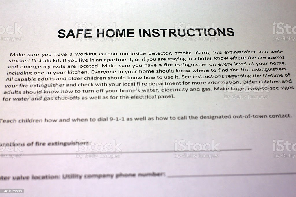 Basic home safety instructions stock photo